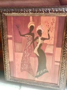African Ladies Framed Litho - br