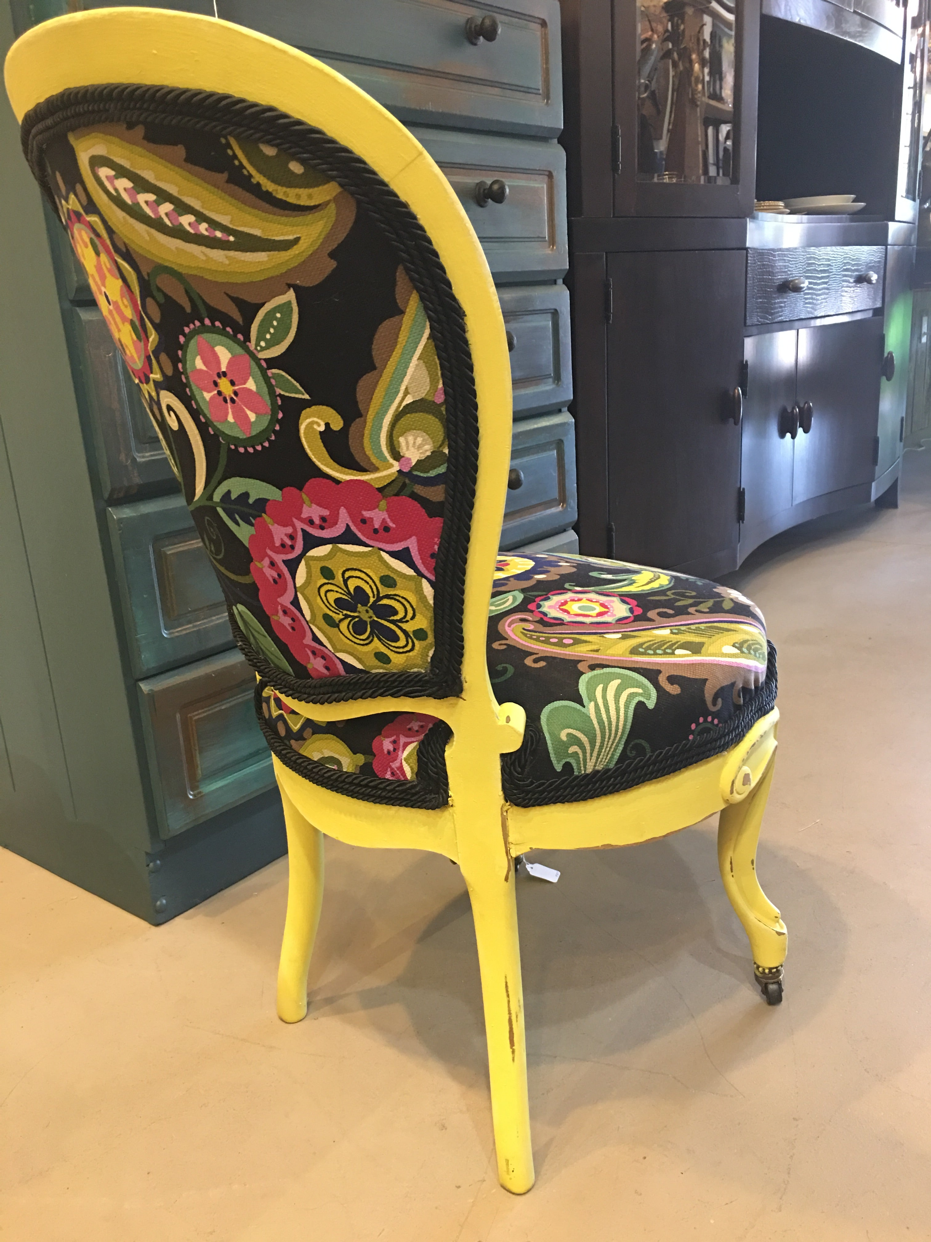 Upcycled Yellow and Black Chairs -eet