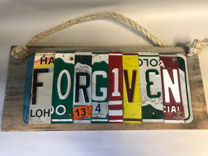 """Forgiven"" license plate wall hanging by Red Head Rubbish"