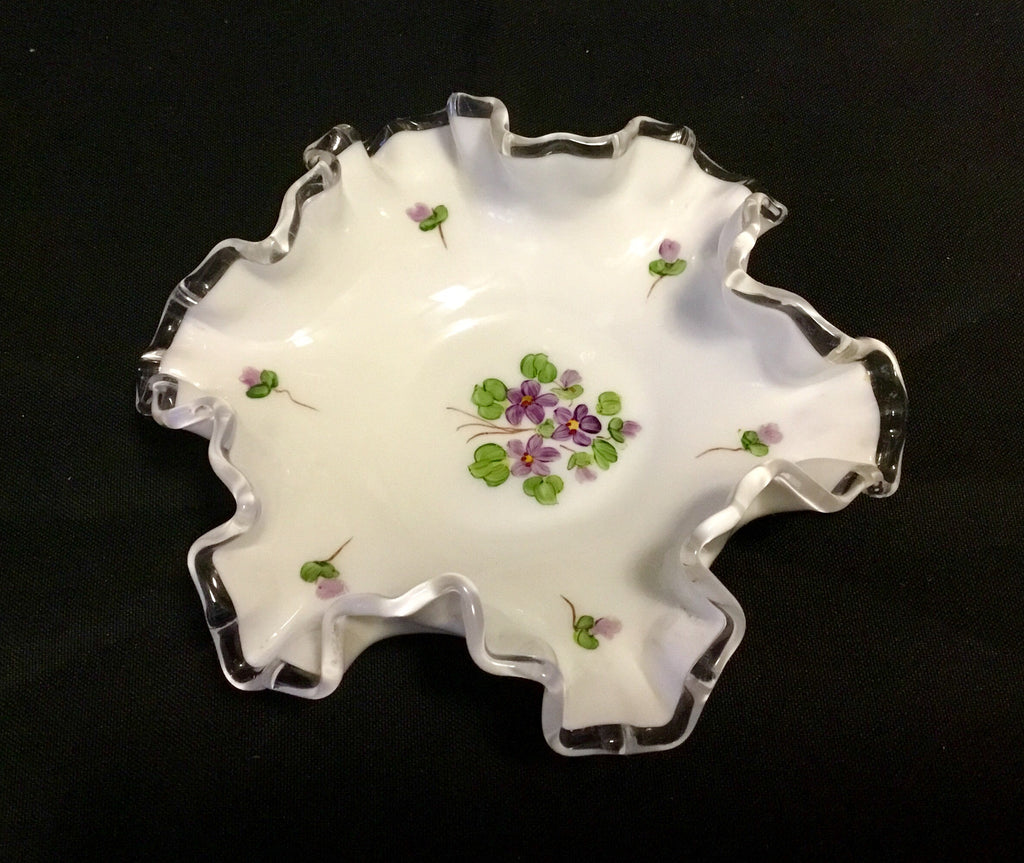 Vintage milk glass ruffled candy dish