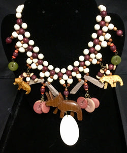 Vintage African wood animal necklace