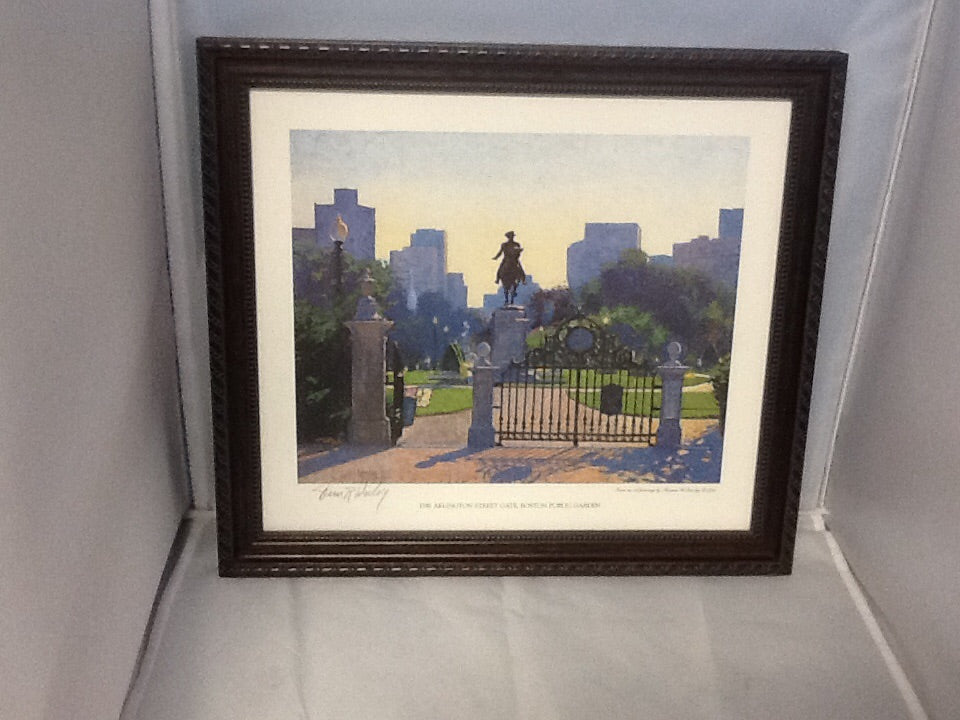 "Framed Signed Reproduction ""The Arlington Street Gate, Boston Public Garden"" by Thomas Dunlay"