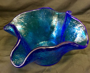 "Blue blown glass vase 7""H x 10""W"