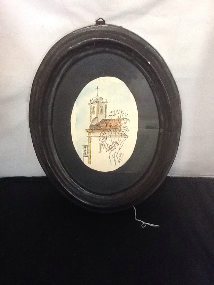 Oval Framed Original Church Watercolor from Columbia