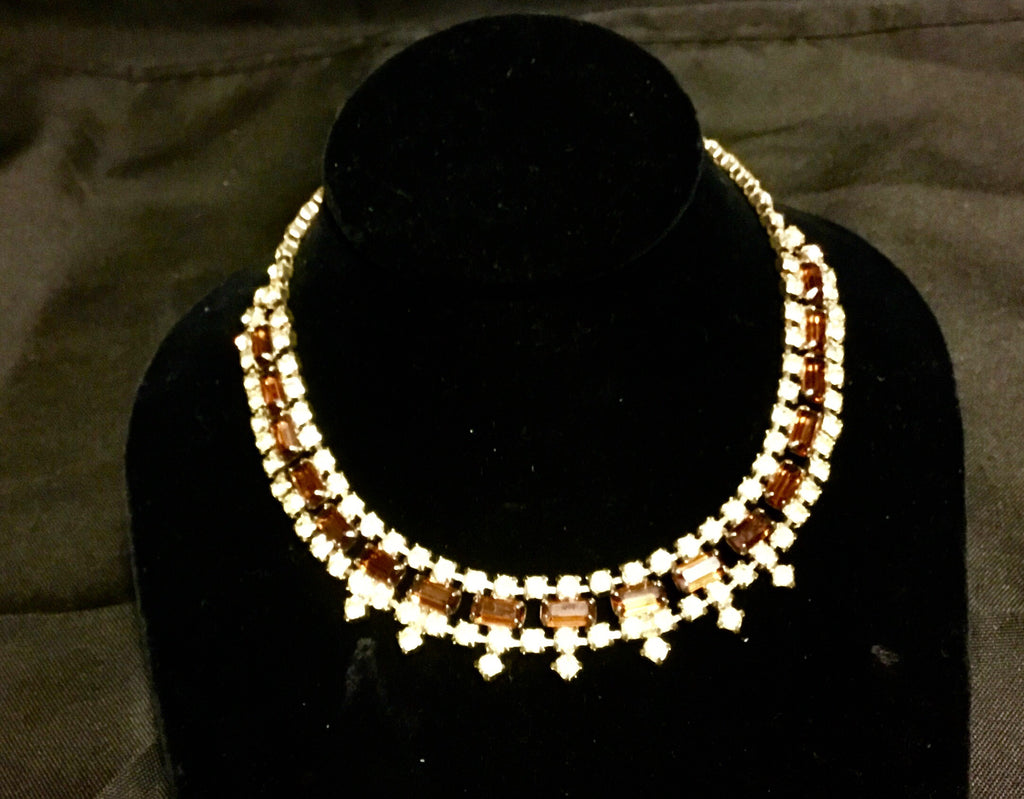 Vintage amber & rhinestone necklace