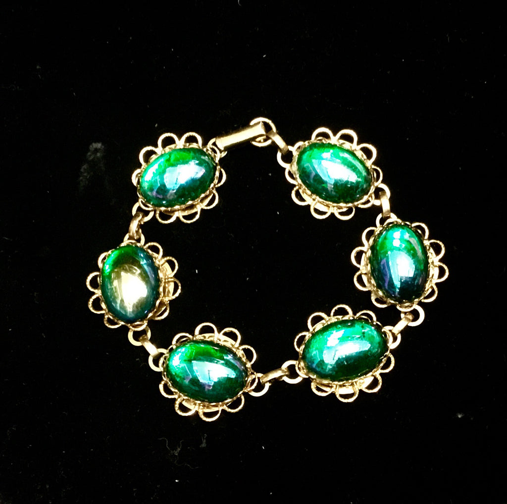 Vintage gold & green iridescent glass bracelet