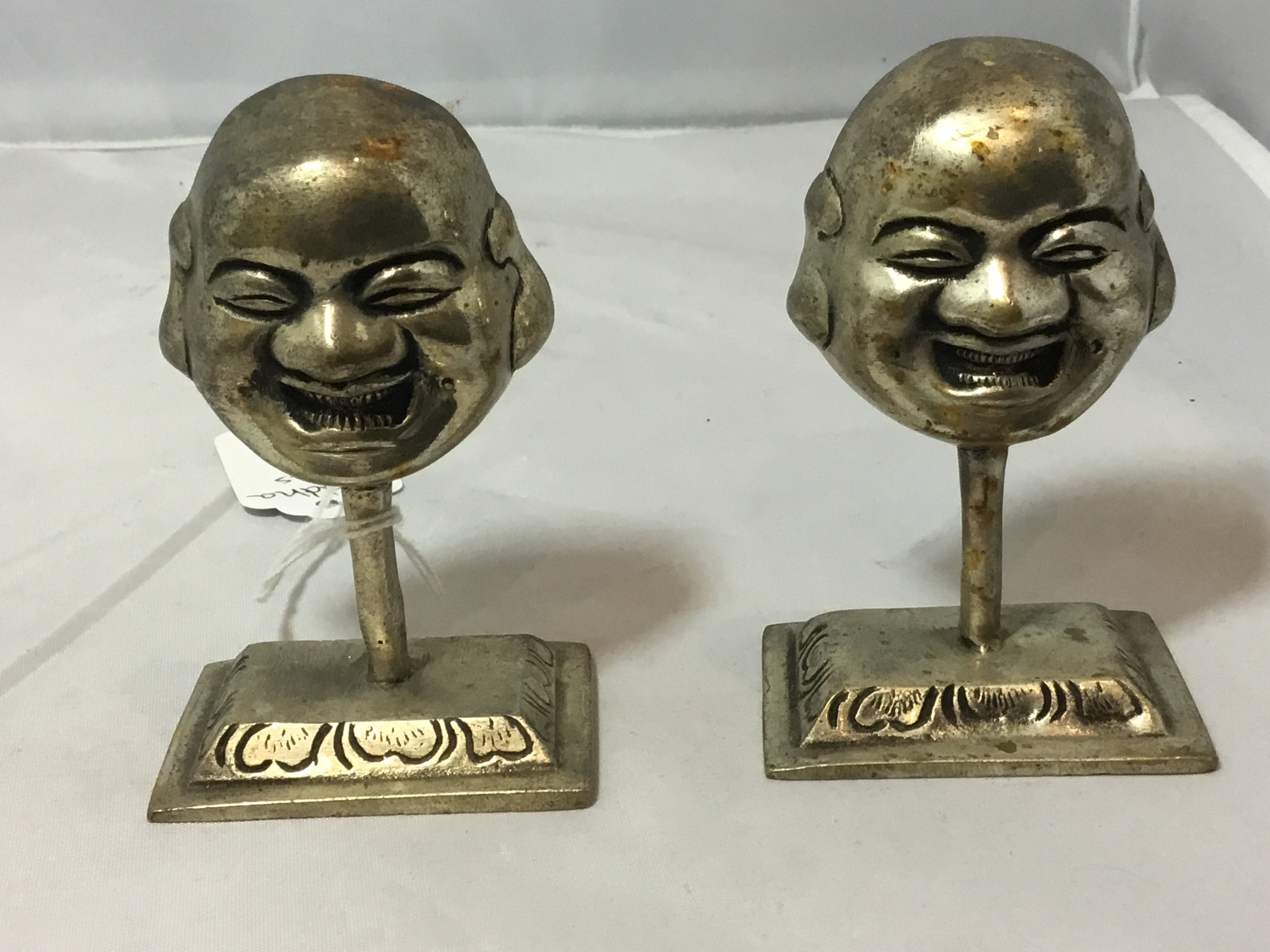 Smiling Buddha Faces, Set of 2 - br