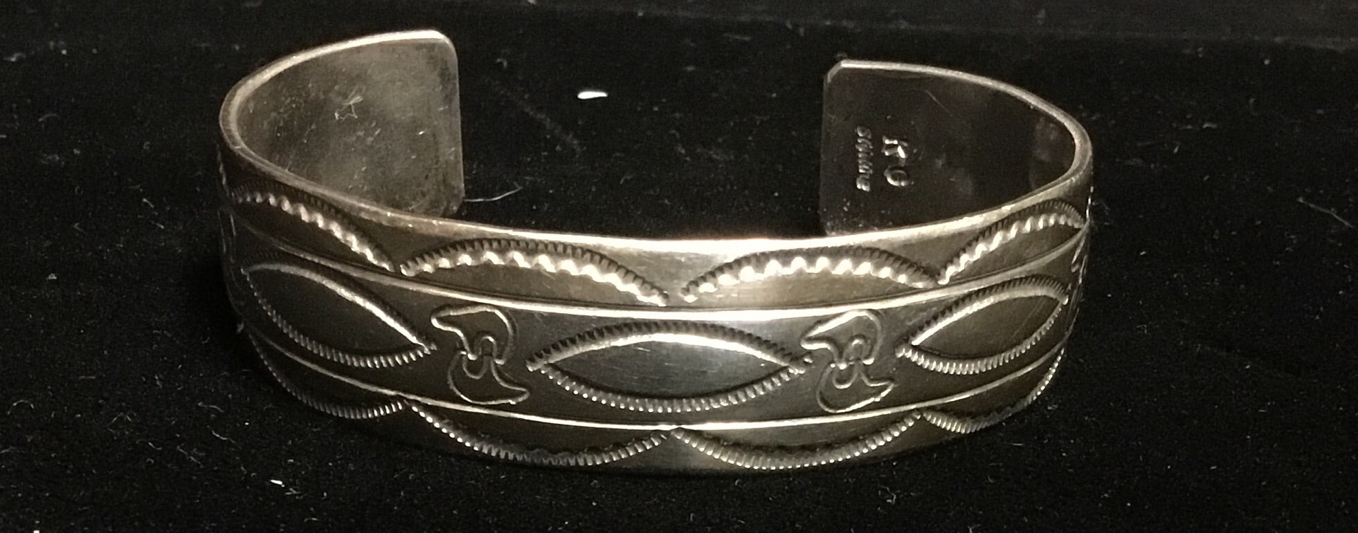 Silver Cuff Bracelet with Native American Engraving