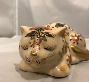 Antique Hand Painted Porcelain Cat