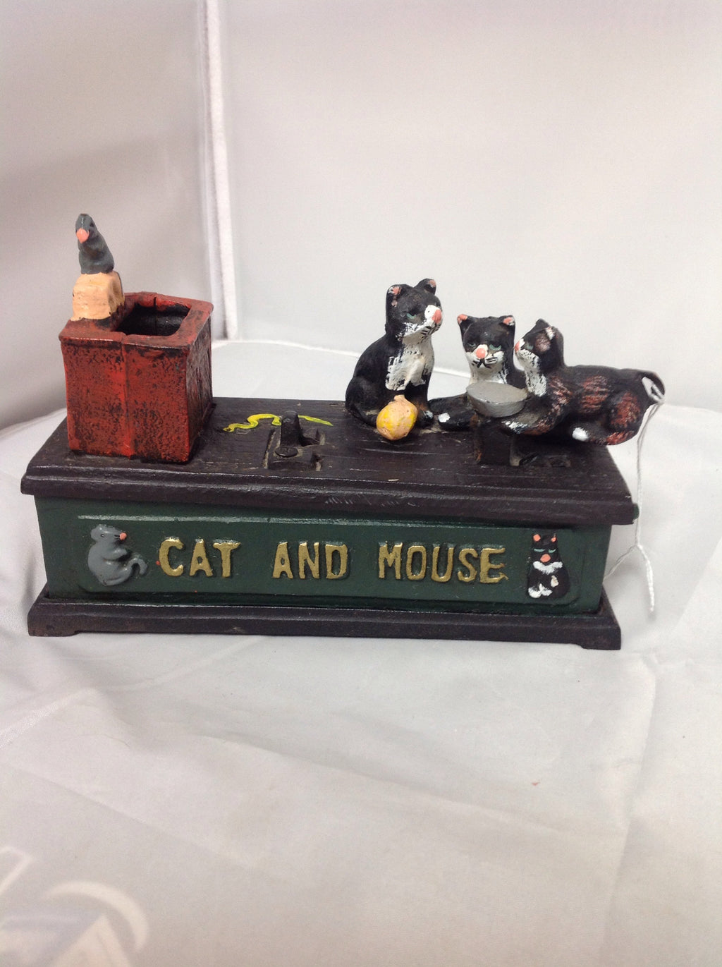 Vintage Cast Iron Cat and Mouse Mechanical Bank