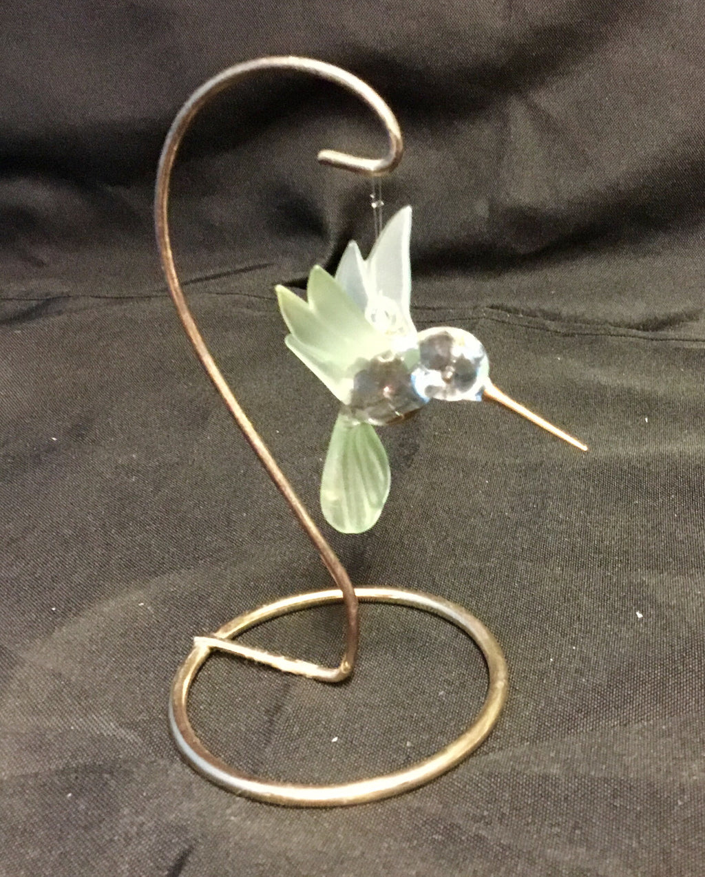 Vintage hand blown hummingbird with 22KT gold with brass stand