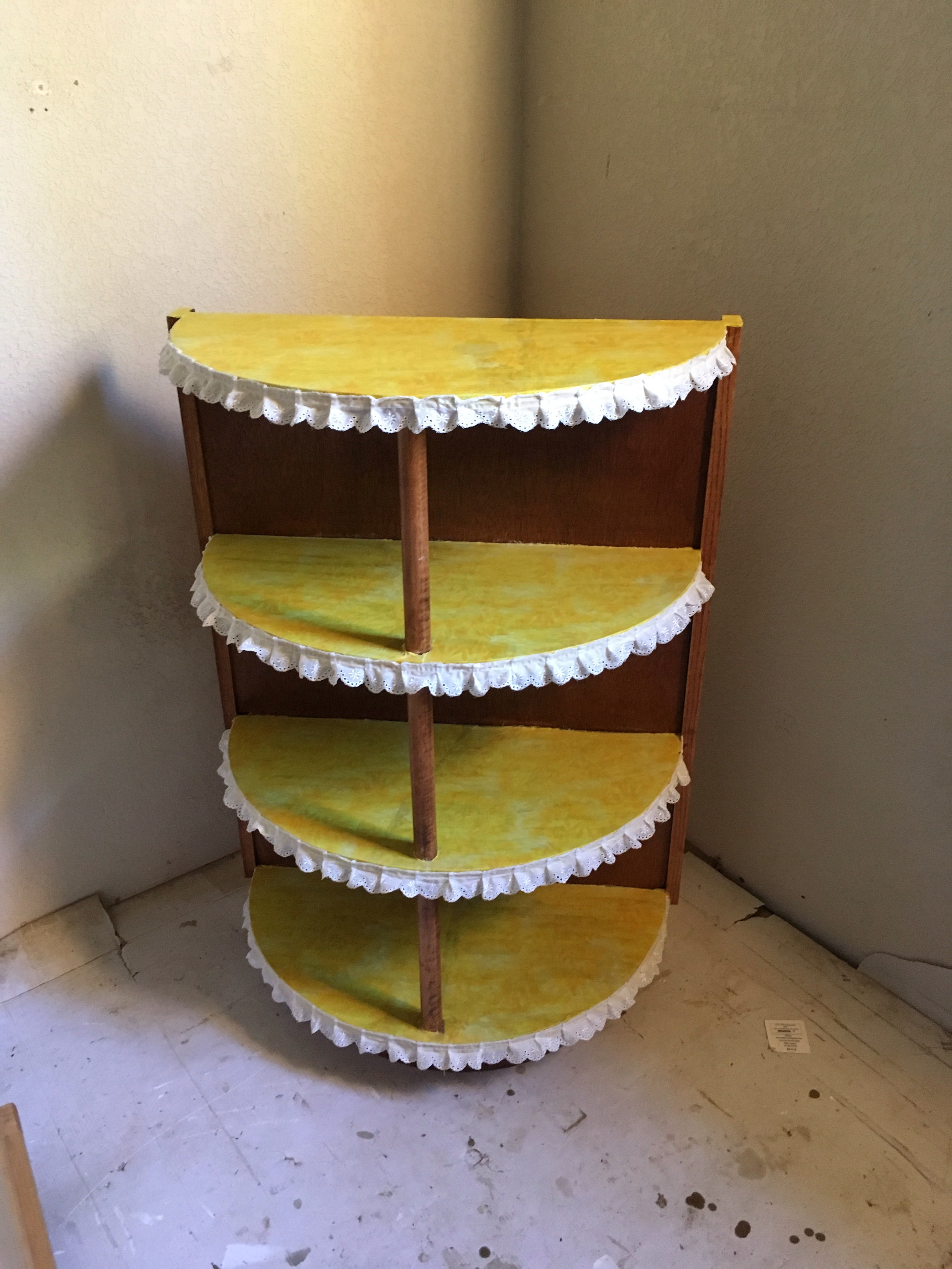 Fabric Covered Upcycled Small Shelf