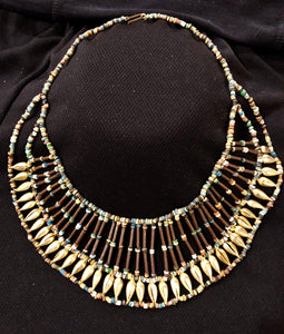 Egyptian Broad Collar Mummy Bead & Brass necklace