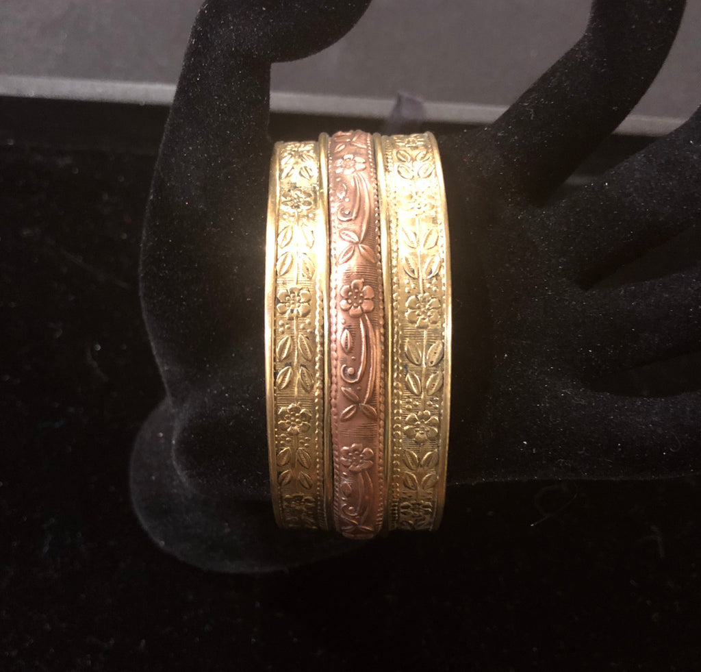 Vintage brass and copper cuff bracelet