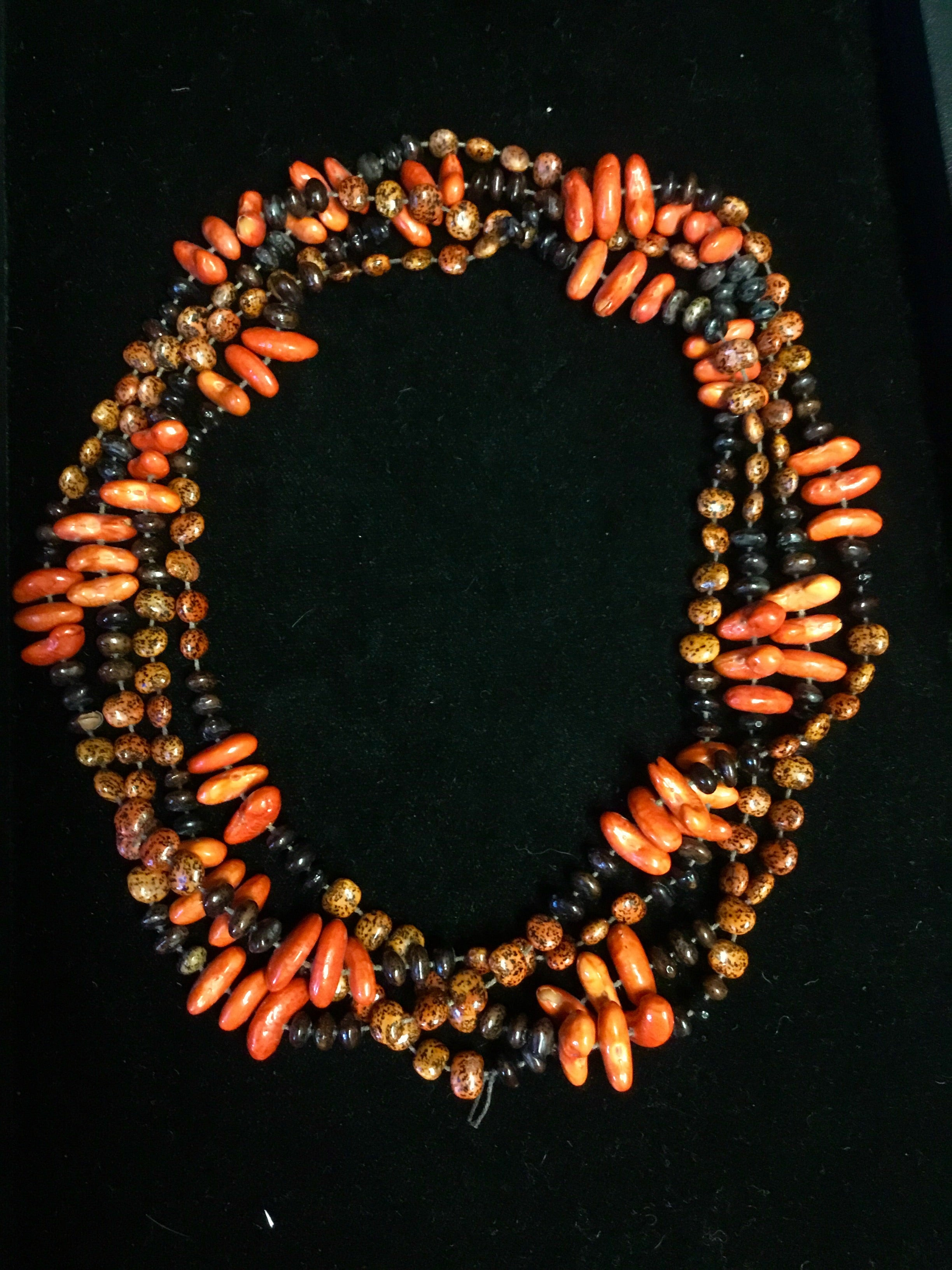 "Vintage 76"" Orange Bean Necklace"