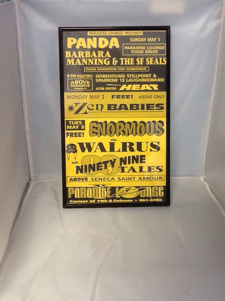 Framed Concert Poster from Paradise Lounge