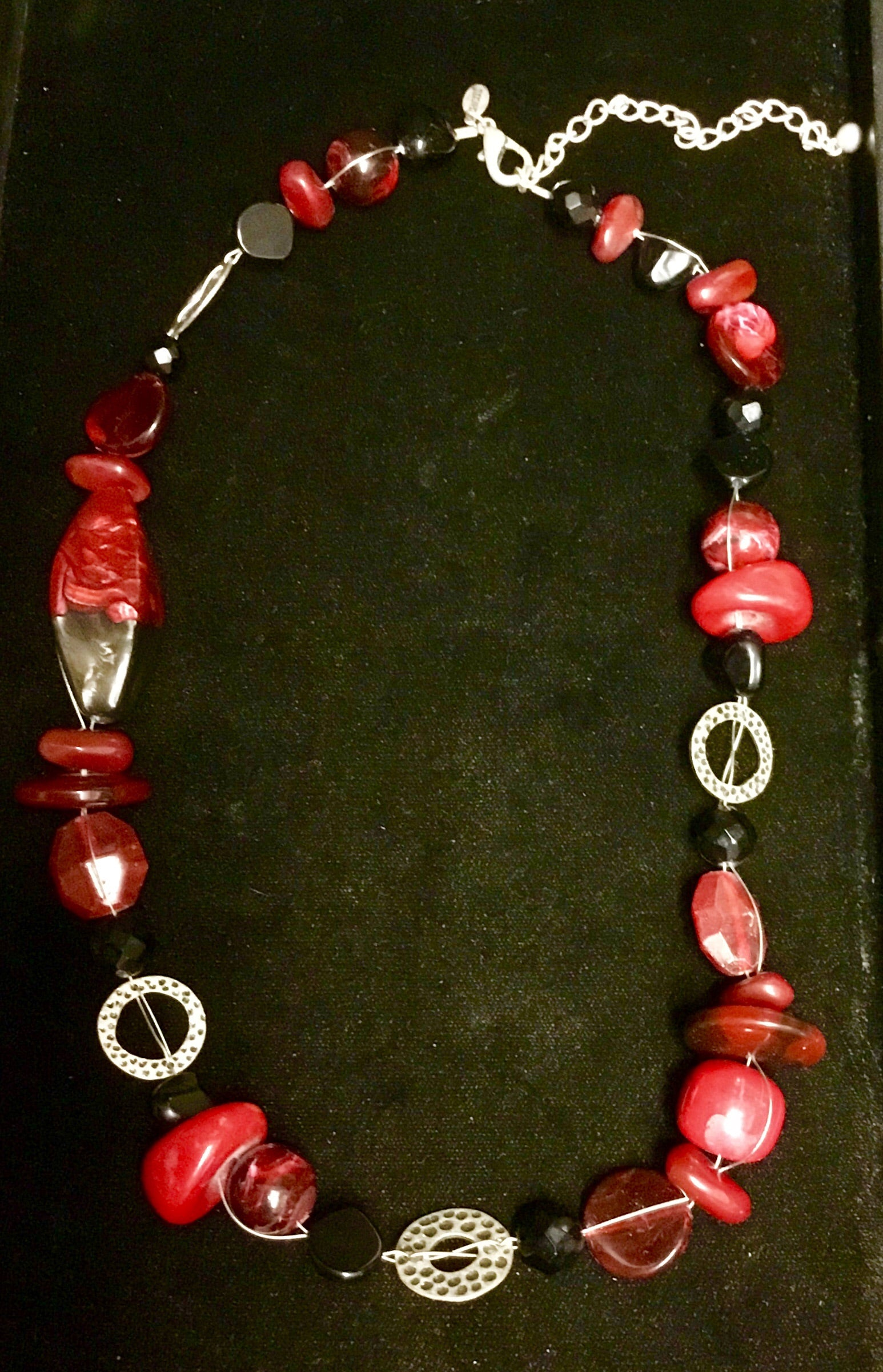 Chicos red and black beaded necklace