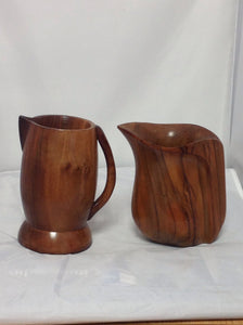 Carved Teak wood Pitcher and Mug