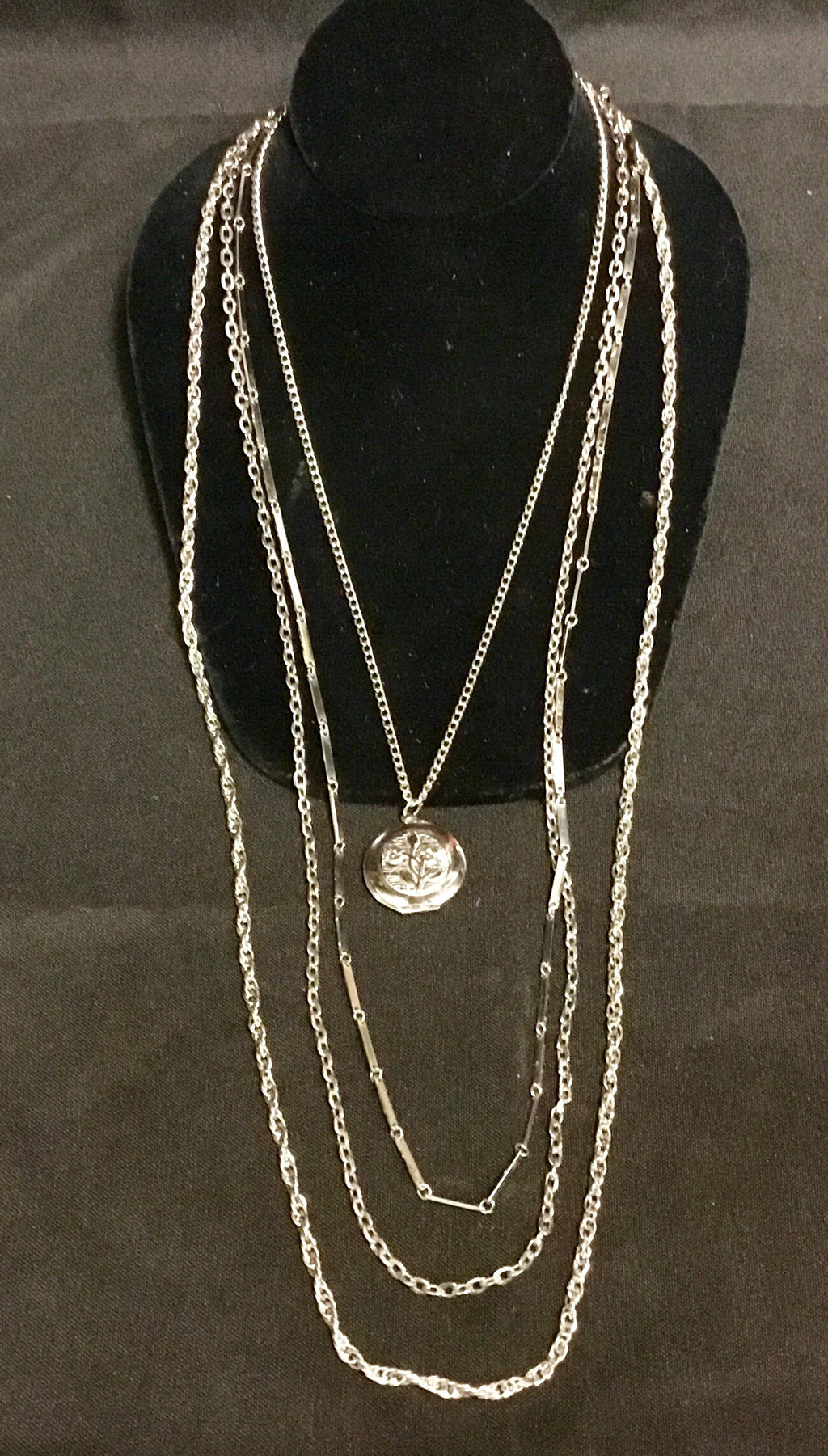 Vintage silver strand necklace with locket