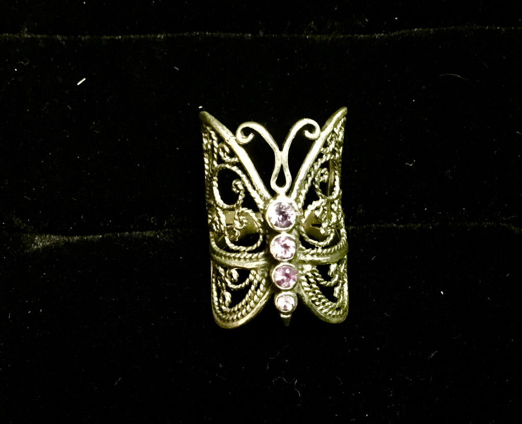 Silver & Amethyst Butterfly ring