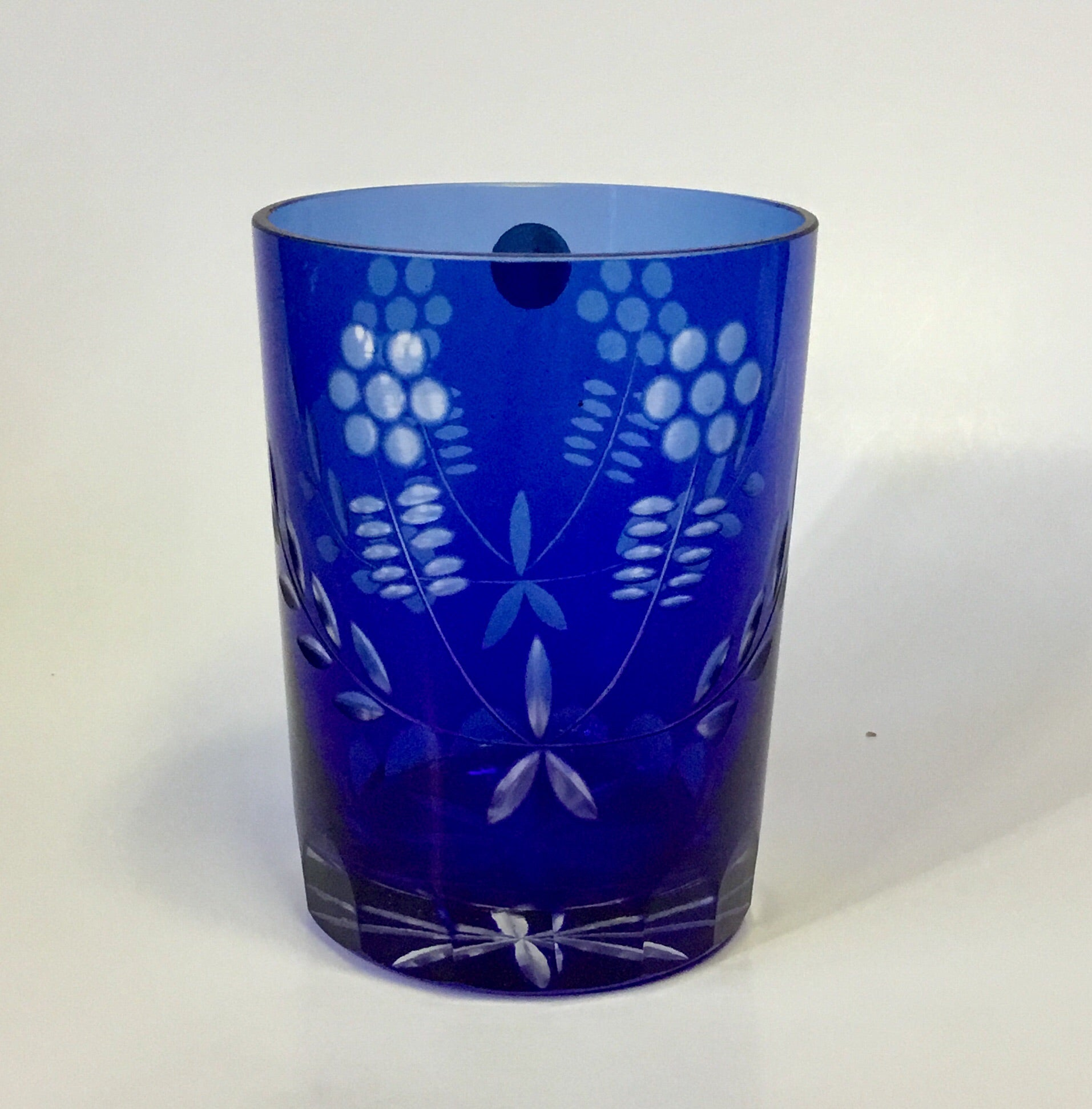 Romanian Etched Cobalt Water Craft and Glass Set