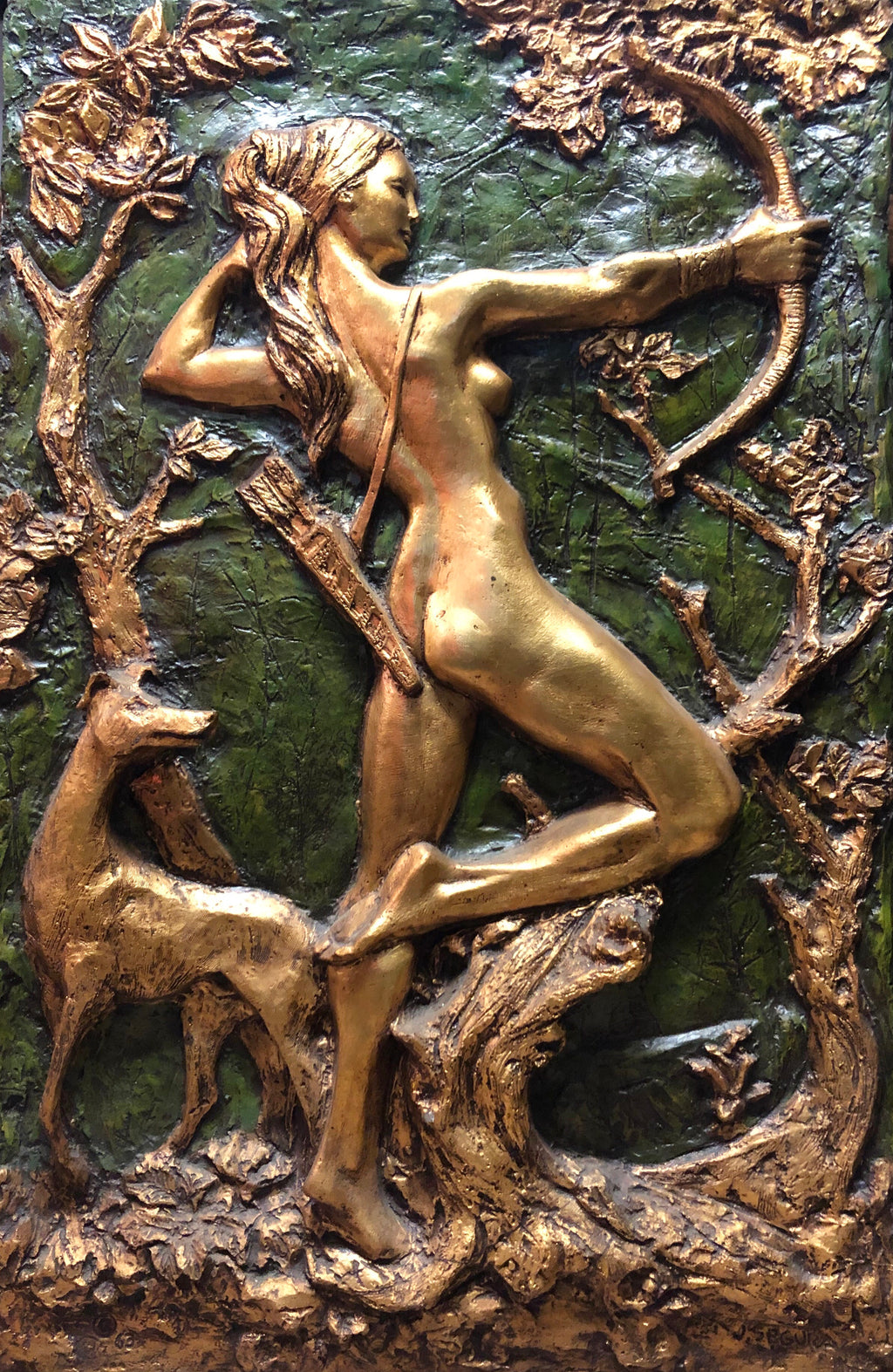 Gold and Green Artemis Greek Goddess Relief