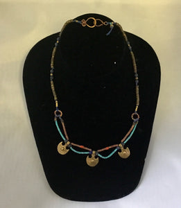 Brass Heshi/Lapis/coral/serpentine necklace