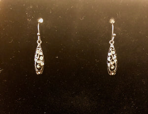 Vintage mini rhinestone silver earrings