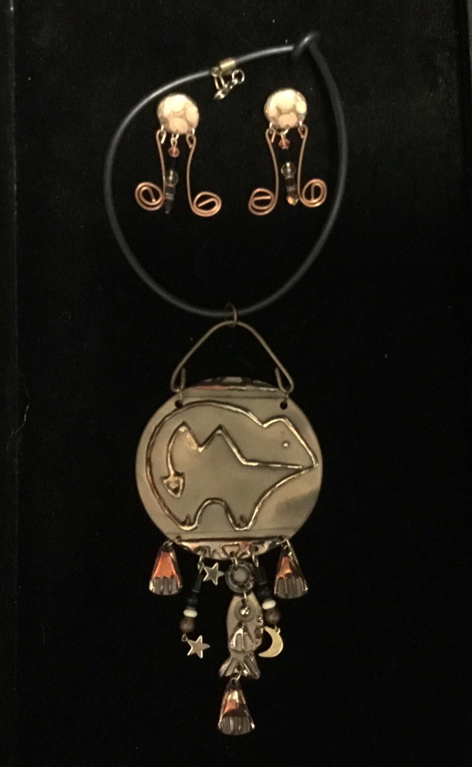 Hand Made Copper Bear Necklace Set