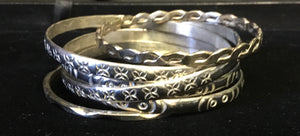 Six Assoted Mexican Silver Bangles