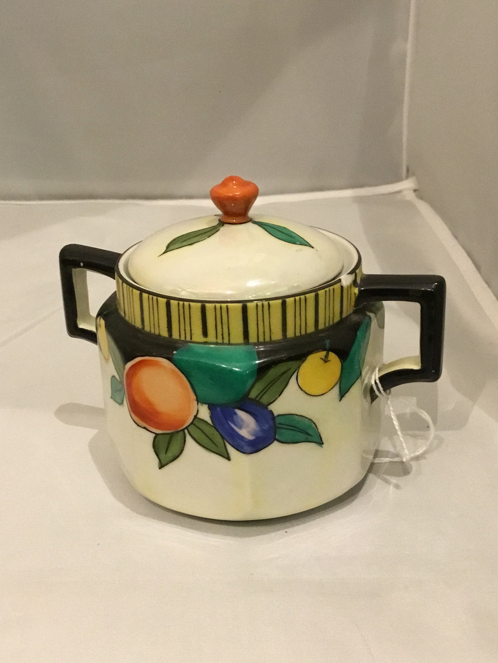 Sugar bowl with fruit design - cw