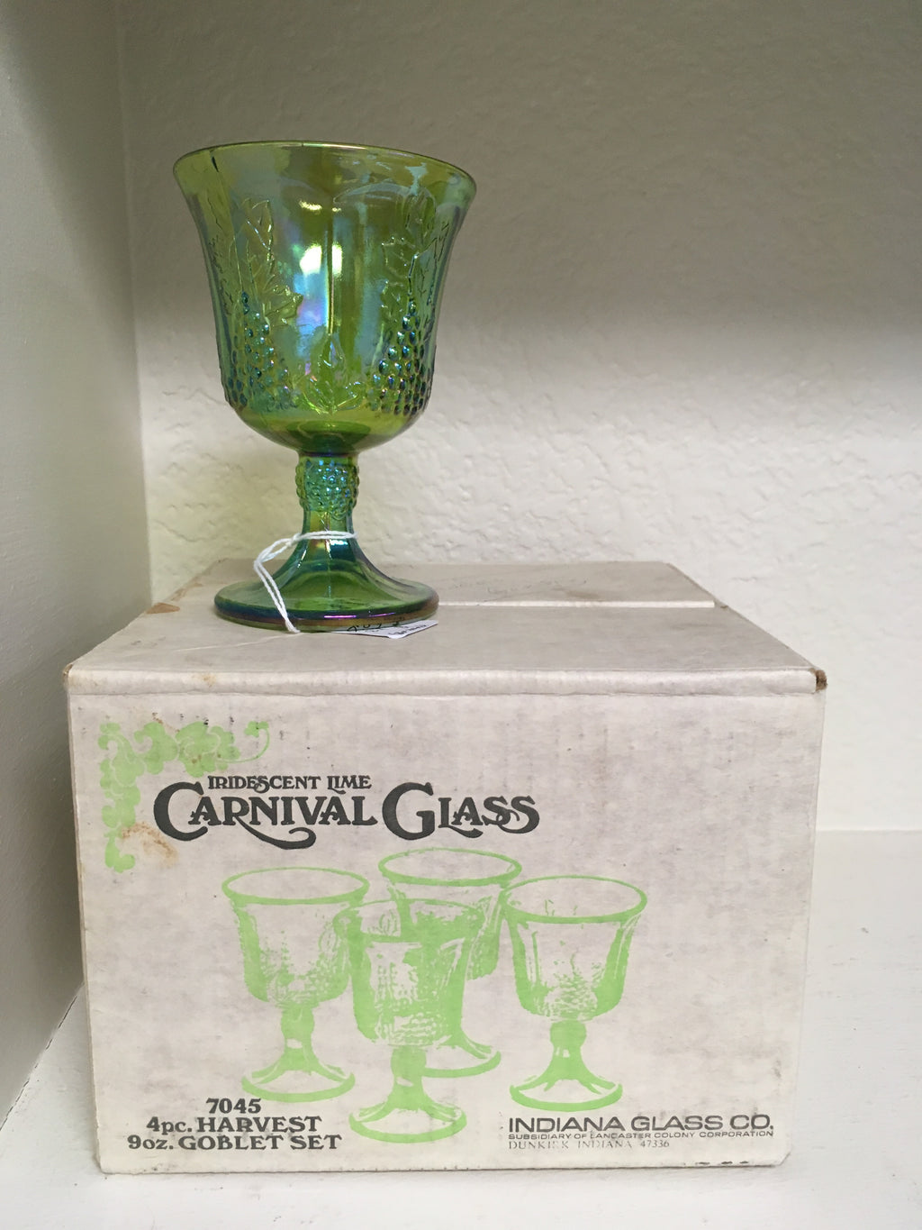 Vintage Irridescent Lime Carnival Glass 4 pc, 9 oz Goblet Set with Original Box