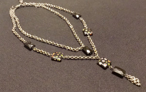 Black floral beaded and silver necklace