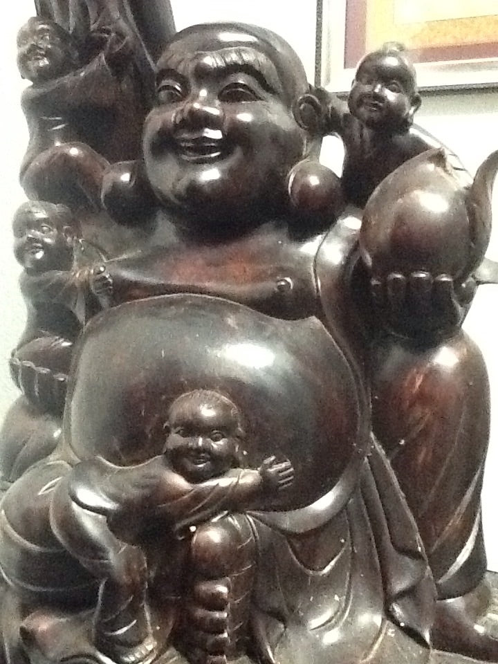 4 1/2 Foot Tall Carved Wood Happy Buddha