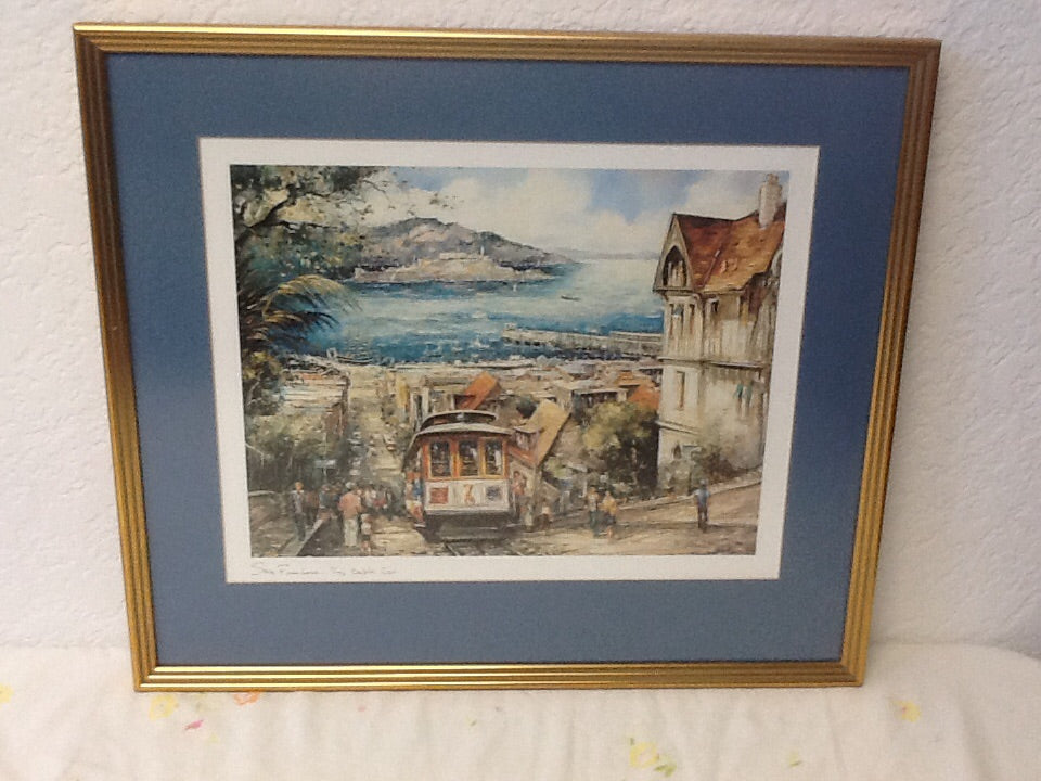 "Framed Reproduction ""San Fransisco - The Cable Car"" by Brunet"