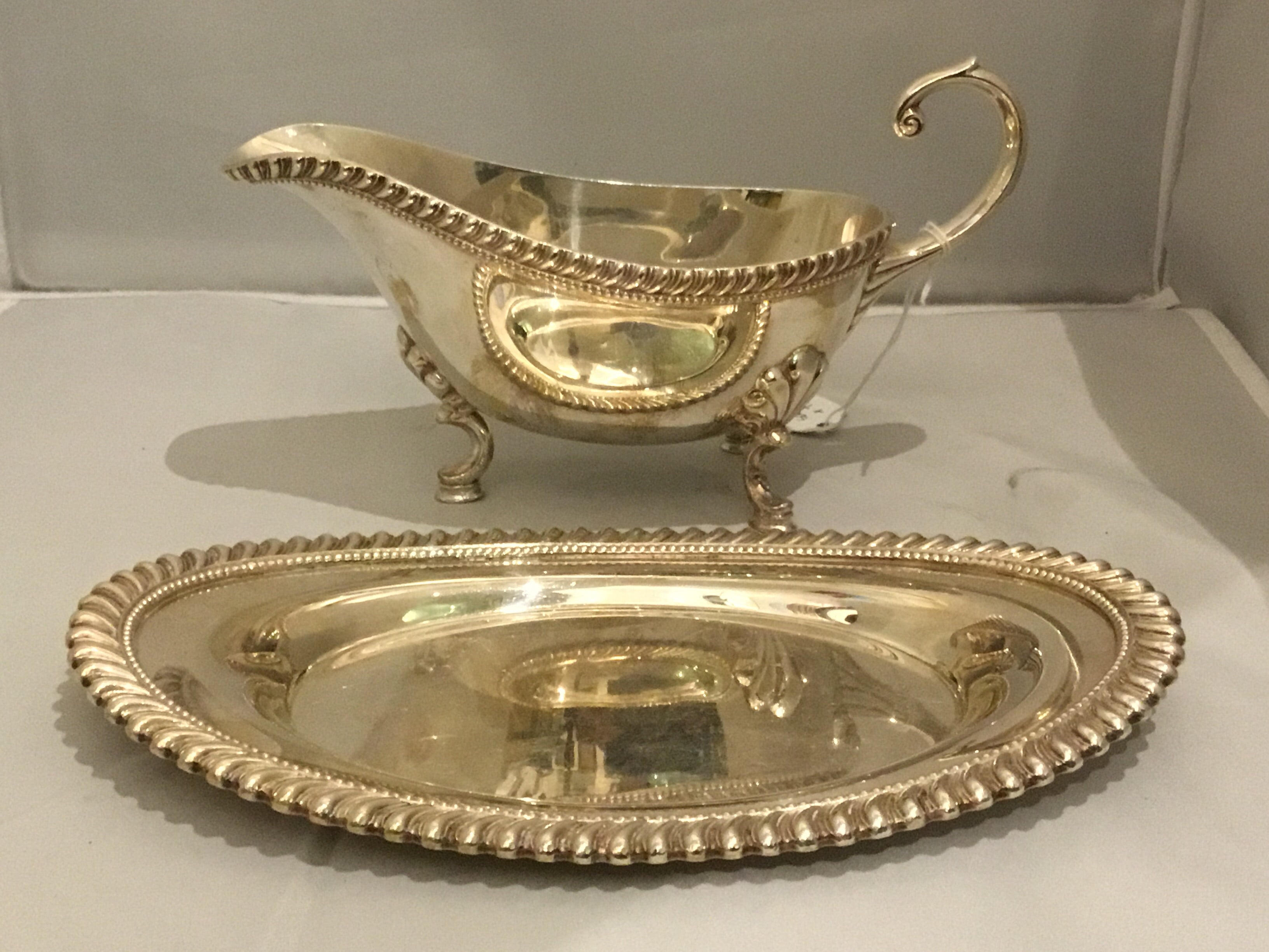 Silver Sauce Boat and Tray