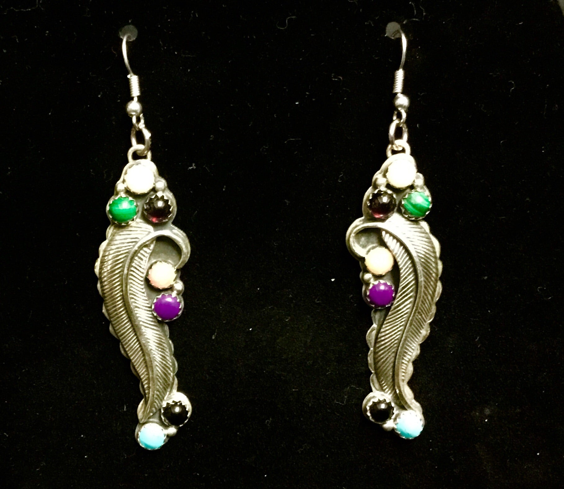Vintage sterling feather & precious stones earrings