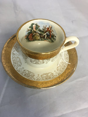Antique Sabin Crest-o-Gold Hand painted 22k Tea cup and Saucer