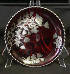 Silver City vintage Ruby Sterling Silver Plate, with Hand Carved Wooden stand