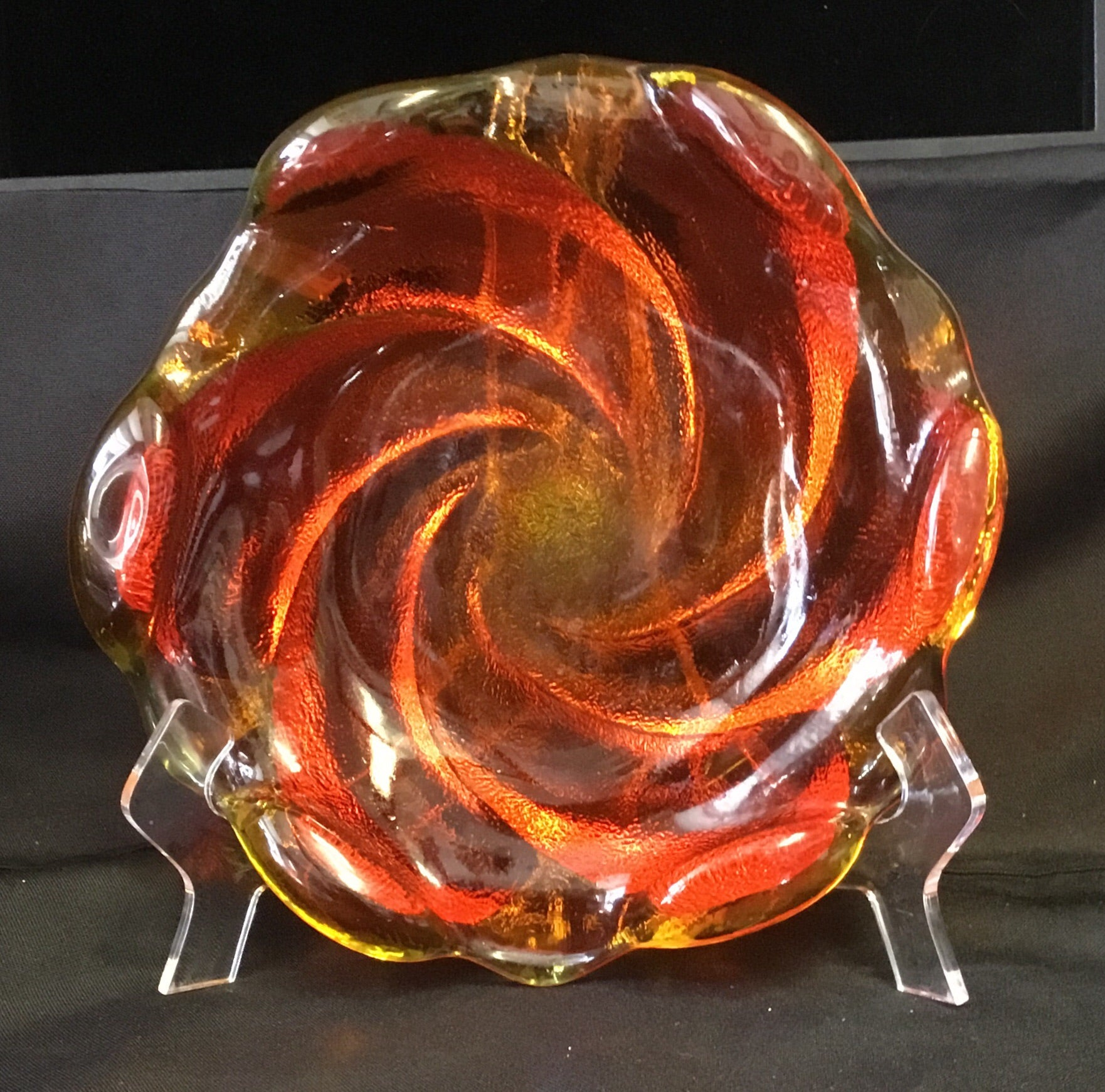 Vintage Orange Swirl Dish