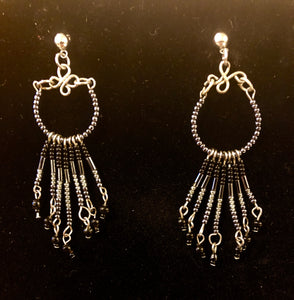 Vintage microbead and silver earrings