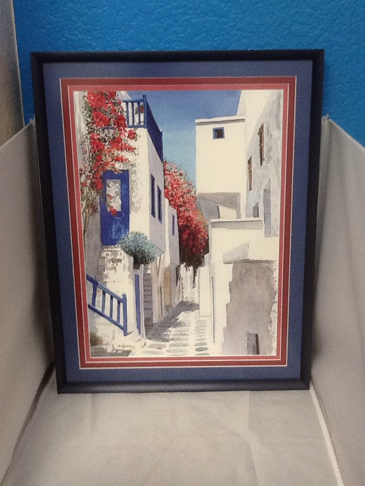 Framed Greek Reproduction Ziakas Watercolor