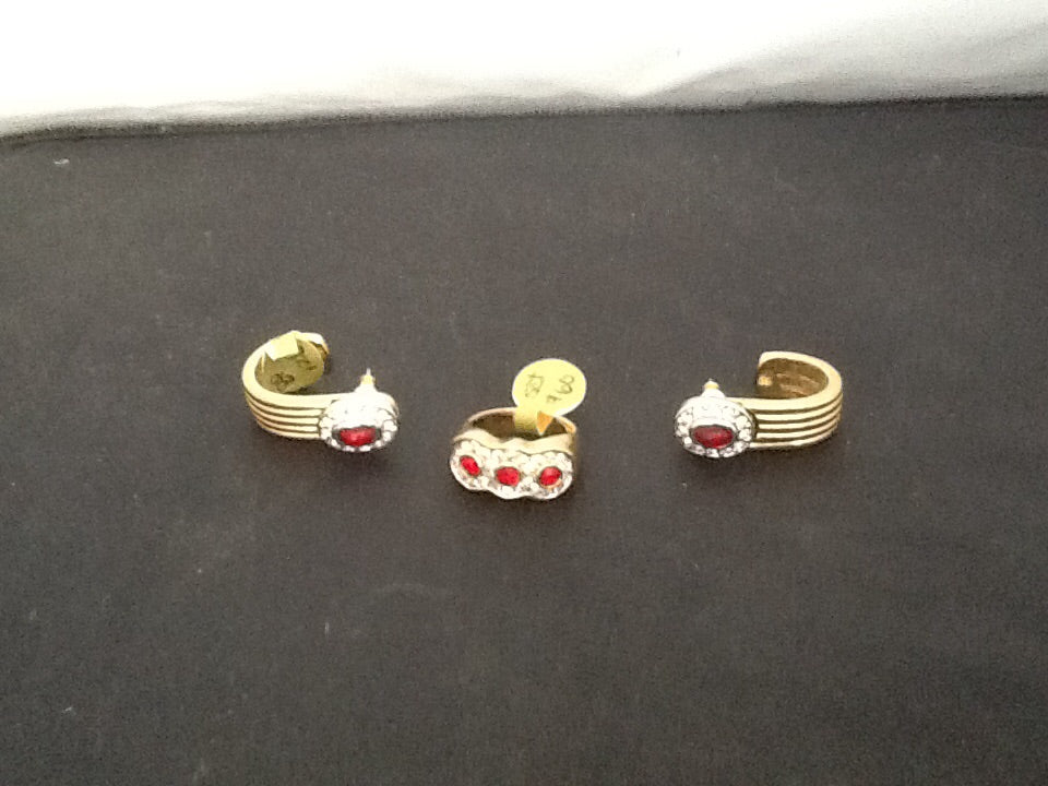 14kt GF vintage Simulated Ruby Earrings and Ring set