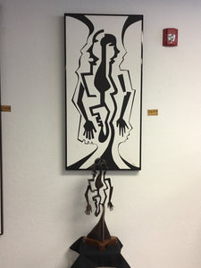 """Bone of bone"" sculpture and serigraph by Phil Spanier"