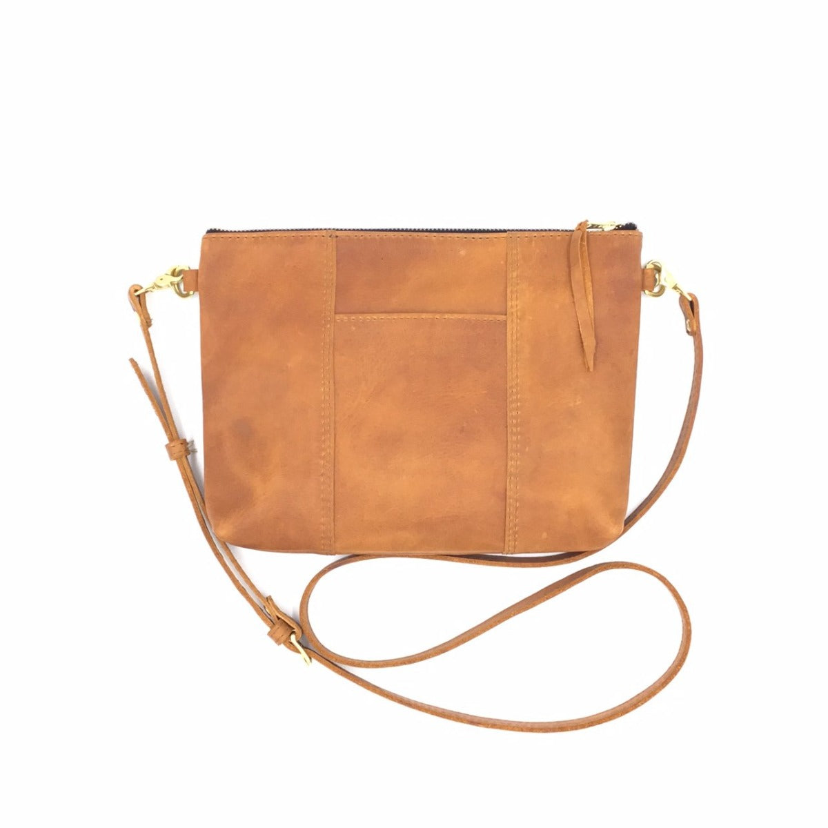 "NEW STYLE! Antigua Tan Leather Cross Body Clutch with front pocket  (1"" base)"