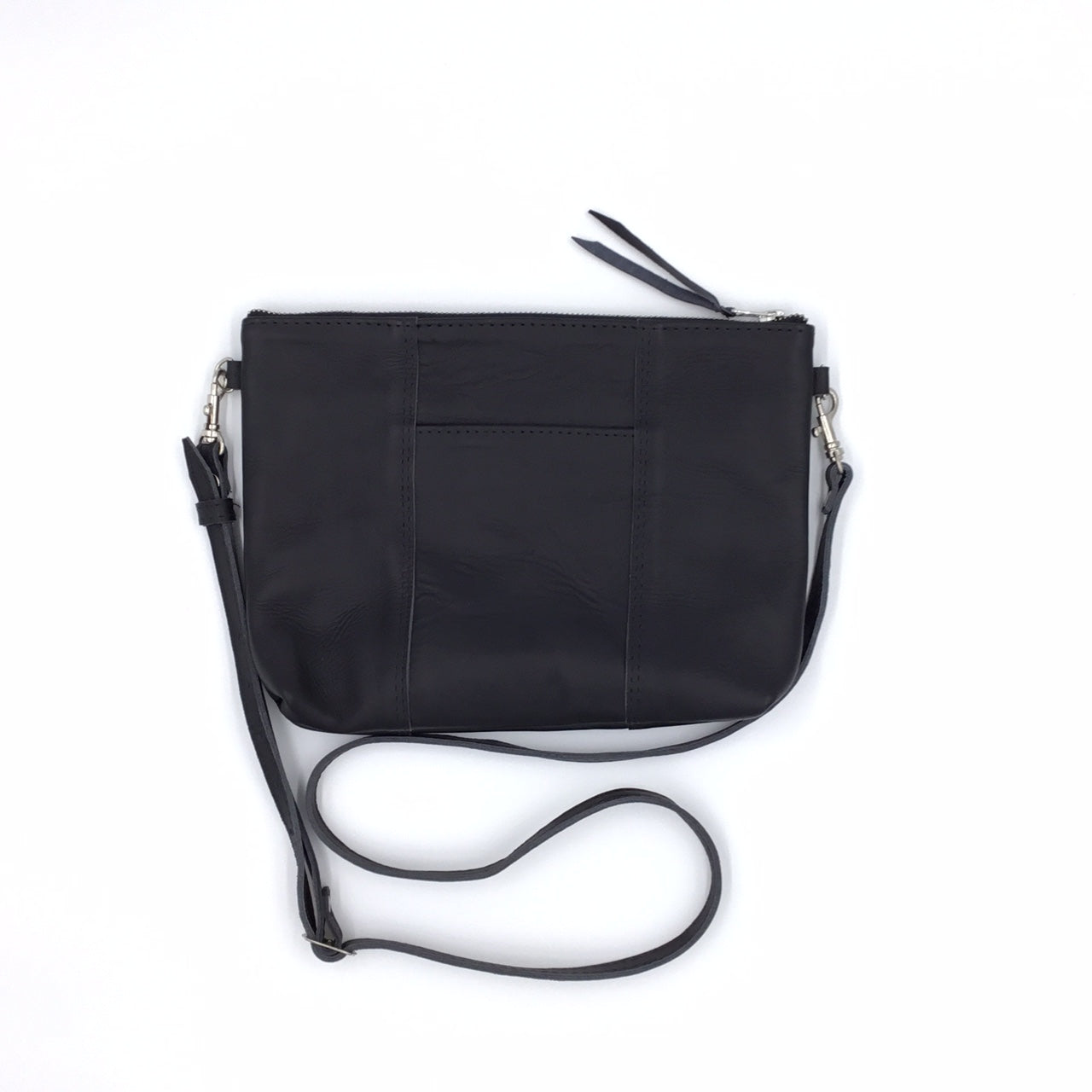 "NEW STYLE! Antigua Black Leather Cross Body Clutch with front pocket, silver hardware  (1"" base)"