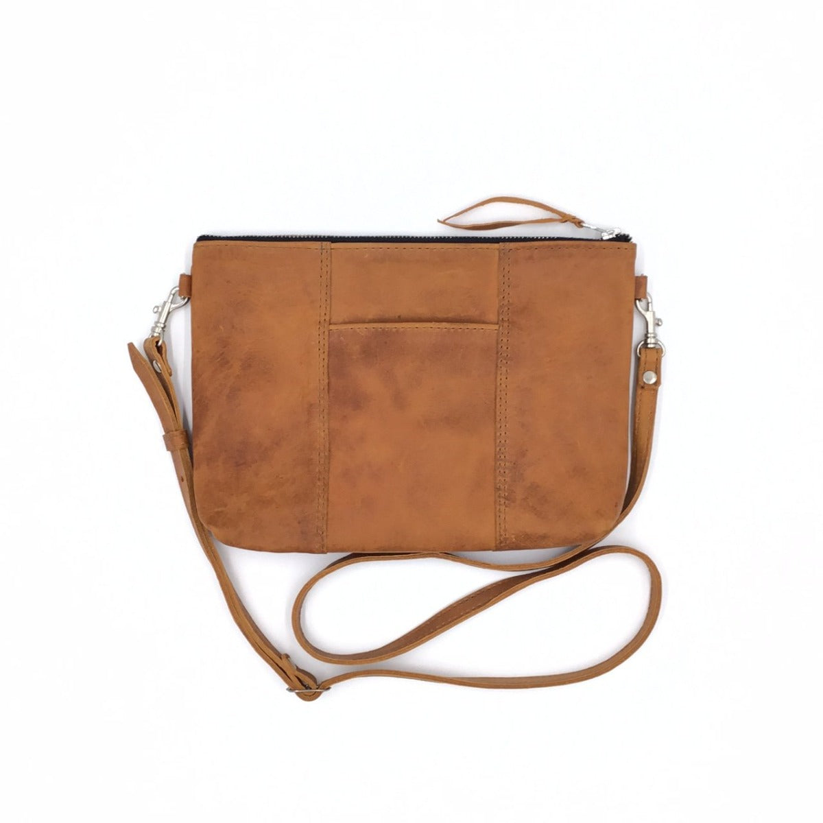 "NEW STYLE! Antigua Tan Leather Cross Body Clutch with front pocket, silver hardware  (1"" base)"