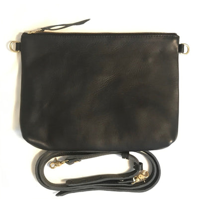 "Antigua Leather Cross Body Clutch (1"" base) - black leather"