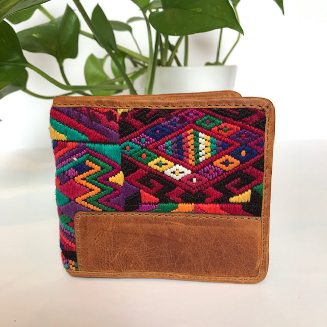 Huipil wallet in tan leather