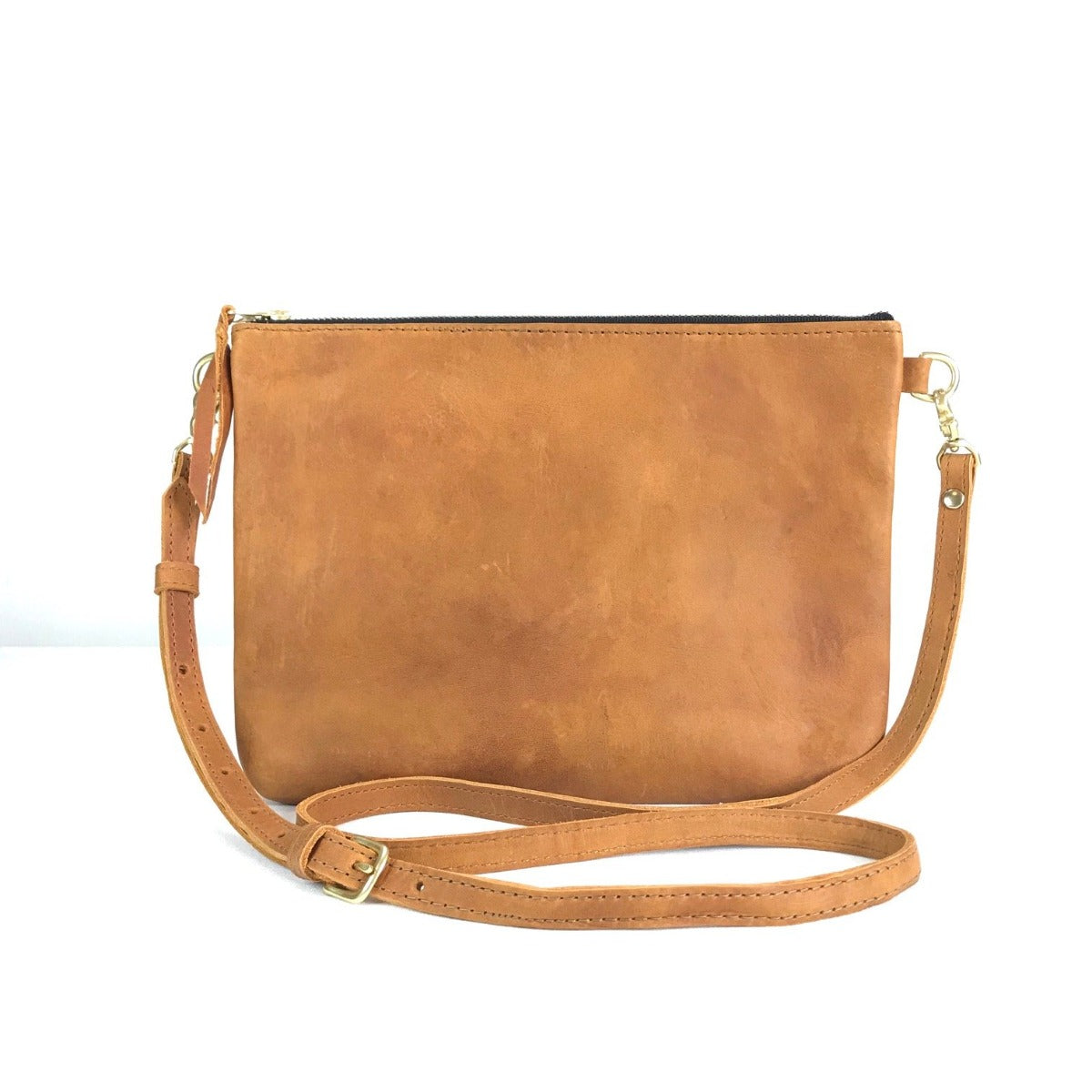 "Antigua Leather Cross Body Clutch (1"" base) - tan leather"
